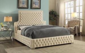 Platform Bed with Velvet Fabric - Beige King / Beige / Velvet Fabric
