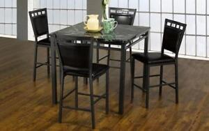 Pub Set with Chairs - 5 pc - Espresso | Gun Metal Grey Espresso | Gun Metal Grey