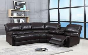 Recliner Corner Sectional with Air Leather - Chocolate Chocolate