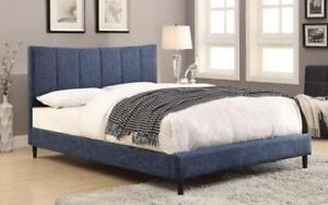 Platform Bed with Linen Style Fabric - Blue Queen / Blue / Linen Style Fabric
