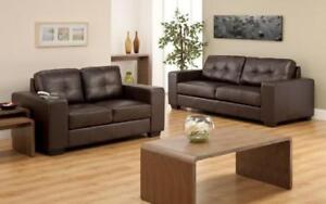 Sofa Set - 3 Piece - Chocolate 3 pc Set / Chocolate / Air Leather