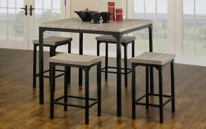 Pub Set with Stools - 5 pc - Reclaimed Wood | Black Reclaimed Wood | Black