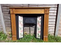 Victorian Style Cast Iron Fireplace, wood surround, pattern tiles, black granite hearth and grate