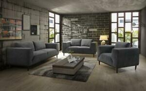 Sofa Set - 3 Piece - Dark Grey 3 pc Set / Dark Grey