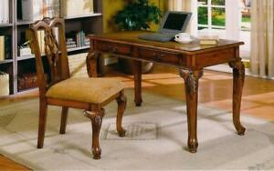 Office Desk and Chair Set World Map inserted with 2 Drawers - Walnut Walnut