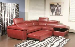 Leather Sectional Sofa with Right Side Chaise - Black   Red Red