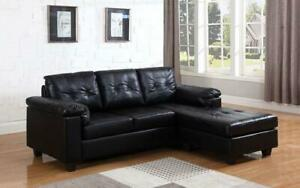 Leather Sectional with Left Side Or Right Side Chaise - Black Right Side Chaise / Black