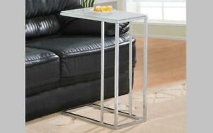 Sofa Table Glass Top with Chrome Leg - Black | White White
