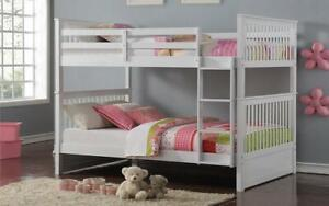 Bunk Bed - Double over Double Mission Style with or without Drawers Solid Wood - White White / No Drawers