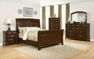 Sleigh Bedroom Set 8 pc - Deep Cherry King / Deep Cherry