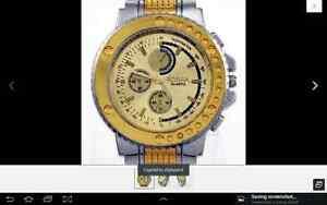 Gold Luxury Man Wristwatch Stainless Steel Xmas New100% London Ontario image 2