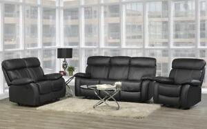 Recliner Set - 3 Piece with Genuine Leather - Black 3 pc Set / Black