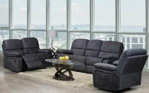 Recliner Set - 3 Piece with Air Suede Fabric - Graphite Grey 3 pc Set / Graphite Grey