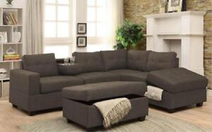 Fabric Sectional Set with Reversible Chaise and Ottoman - Grey Grey