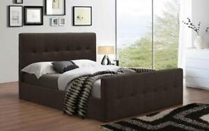 Platform Sleigh Bed with Linen Style Fabric - Beige King / Espresso / Linen Style Fabric
