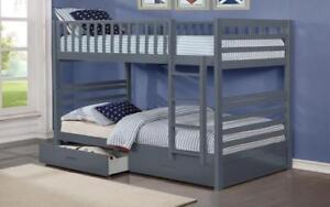 Bunk Bed - Twin over Twin with 2 Drawers Solid Wood - White   Grey Grey
