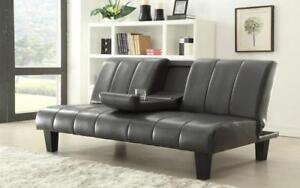 *** BRAND NEW *** HUGE SALE *** KLICK KLACK SOFA BED WITH CUP TRAY (GREY)***LIMITED STOCK****