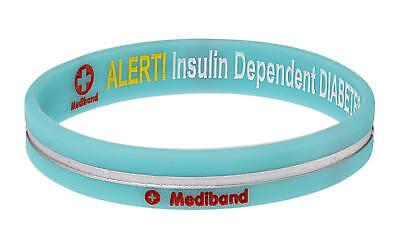 Designer Insulin Dependent Diabetes Turquoise Stripe Medical Alert Bracelet by