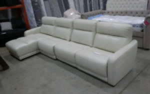 Cream leather chaise sofa electric recliner