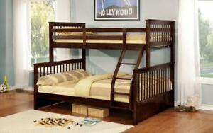 *** BRAND NEW *** HUGE SALE *** TWIN/DOUBLE DETACHABLE SOLID WOOD BUNK BED (ESPRESSO)***LIMITED STOCK****