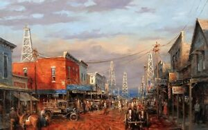 Canvas Print Western town Oil painting Picture Printed on canvas