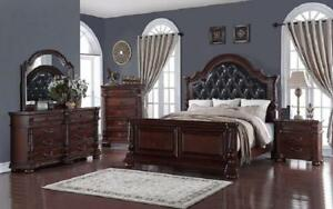 Bedroom Set with Leather Insert Head Board 8 pc - Dark Cherry King / Dark Cherry