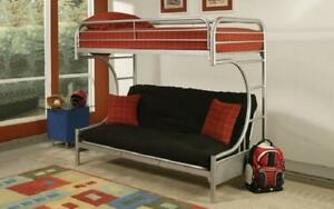 Futon Bunk Bed - Twin over Double with Metal - Black | White | Grey Grey