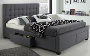Platform Bed with Button-Tufted Fabric and 4 Drawers - Charcoal Grey Double / Charcoal Grey Canada Preview