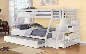 Bunk Bed - Twin over Double with Trundle, Drawers, Staircase Solid Wood - White White