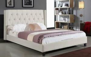 Platform Bed with Button Tufted Linen Style Fabric - Ivory King / Ivory / Linen Style Fabric