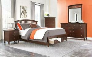 Bedroom Set with Pull-Out Drawers 8 pc - Whiskey King / Whiskey