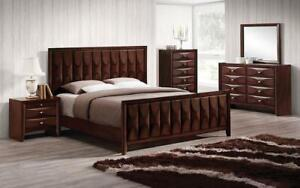 Bedroom Set with Vertical Convex Design 8 pc - Antique Oak King / Antique Oak