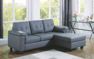 Leather Sectional with Left Side Or Right Side Chaise - Grey Right Side Chaise / Grey
