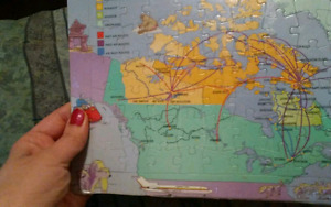 1980's Canadian Airlines Routes Map Puzzle - STILL SEALED!!