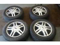 4 stud 15 inch alloys and tyres