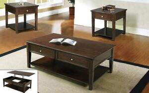 Coffee Table Set with Lift Top & Drawer - 3 pc - Walnut 3 pc Set / Mahogany