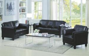 Sofa Set - 3 Piece - Black Black