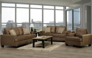 Sofa Set - 3 Piece - Caramel 3 pc Set / Caramel