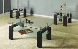 Coffee Table Set with Glass Top with Shelf - 3 pc - Espresso | Black 3 pc Set / Espresso