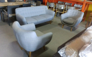 Grey fabric loveseat & 2 chair set