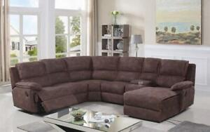 Recliner Corner Sectional with High Tech Fabric - Brown Brown
