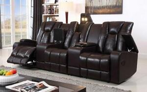 Recliner Theatre Sofa with Air Leather - Chocolate Chocolate