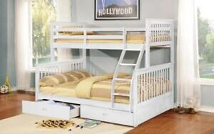 Bunk Bed - Twin over Double Mission Style with or without Drawers Solid Wood - White White / With Drawers