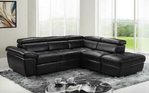 Leather Sectional Sofa with Right Side Chaise - Black | Red Black