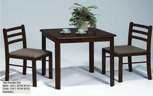 ***BLOWOUT SALE****SOLID WOOD KITCHEN SET - 3 PC (ESPRESSO WITH BROWN MICROFIBRE SEATS)****LOWEST PRICES