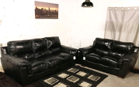 '' Ex display Real leather Black 3+2 seater sofas