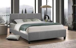 Platform Bed Linen Style Fabric with Adjustable Height - Grey Queen / Grey / Linen Style Fabric