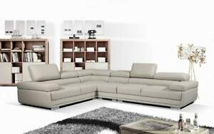 Leather Sectional Sofa with Adjustable Headrest - Charcoal | Grey Grey
