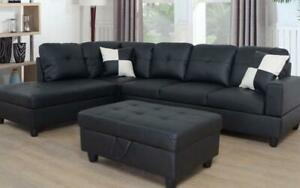 Leather Sectional Set with Chaise and Ottoman - Black Left Side Chaise / Black Canada Preview