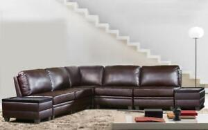 Leather Sectional Sofa with Both Side Ottoman - Chocolate Chocolate